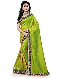 Jhalak Fashion Raw Silk Saree (Js1744-Green_Green)