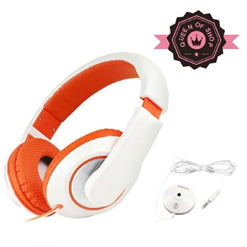 Mc780 White + Orange On-Ear Headphones With Microphone For All Iphone / Ipad / Samsung / Android / Tablets / Cell Phone Products