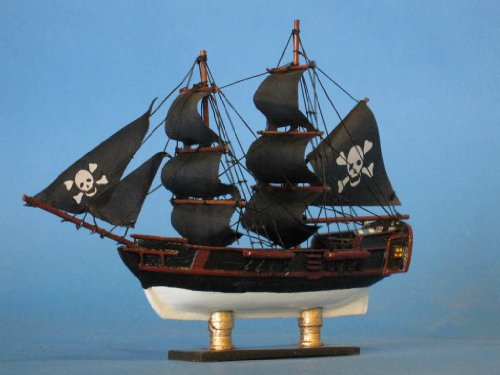 """Caribbean Pirate 7"""" Tall Model Ship - Already Built Not a Kit - Wooden Tall Sailing Ship Replica Scale Ship Model Boat Home Nautical Beach Wall Décor or Gift - Sold Fully Assembled"""