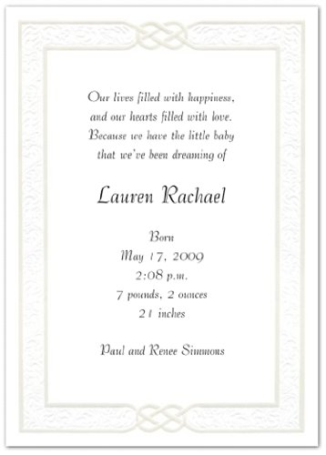 Exquisite Border Birth Announcement - Set Of 20 front-1038917