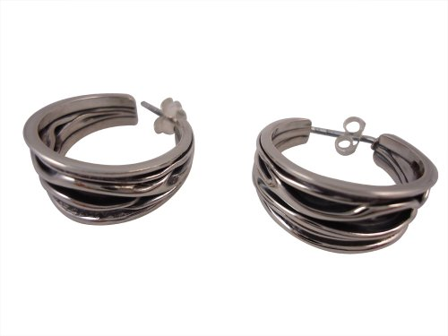 Sterling Silver Crinkle Earrings, Black