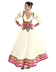 Lookslady Embroidered Beige Pure Georgette Thread Work Semi Stitched Anarkali Suit