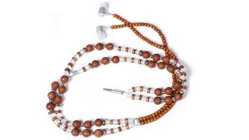 Handcandy Hf002Bd The Samsara Ladybuds Stereo Headphone Necklace, Natural Wood Brown/Clear/Silver Beads