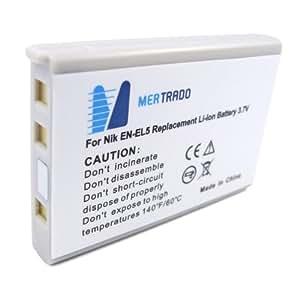 Mertrado - Batterie haute qualité pour Nikon Coolpix - comme EN-EL5 (1100 mAh)