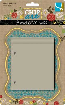 "Chip Art By Melody Ross Chipboard Small Square Book Kit: 4x4"" With 8 Pages & 2 Rings"