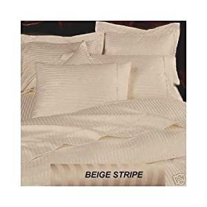 300TC Egyptian Cotton KING (US Queen) Beige Stripe Bed Skirt By Marrikas