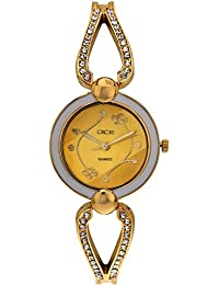 "DICE ""Venus-7154"" Fashionable, Elegant, Contemporary, Tasteful Wrist Watch For Women. Fitted With Gold Plated, Jewel Stone, Attractive Multi Dial Watch."