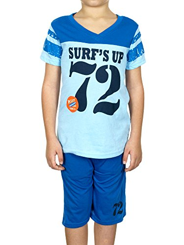 Turtle Bay V-neck Boys Shirt & Shorts 2 Piece Set (5/6, Light Blue) (Men Swim Trunks Captain America compare prices)