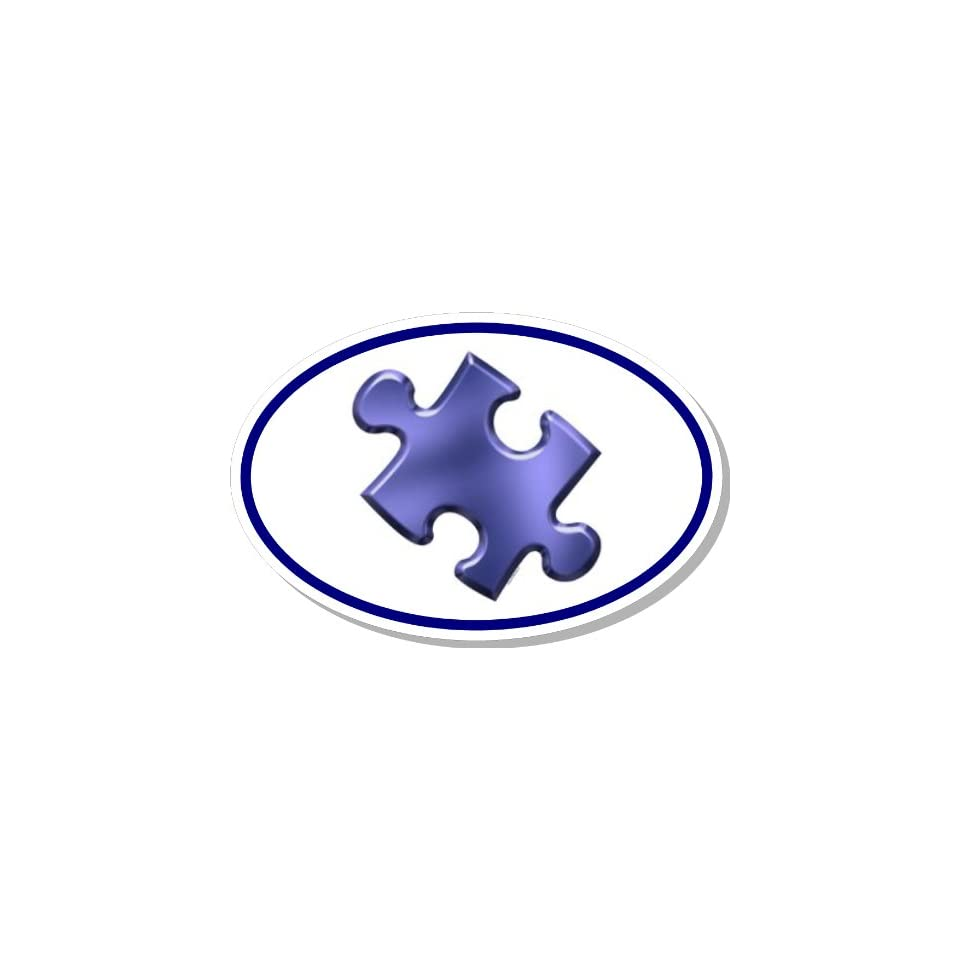 Autism Awareness Puzzle Piece Euro Bumper Sticker Decal