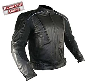 Men's Advanced Armored Padded Black Motorcycle Jacket Sz L