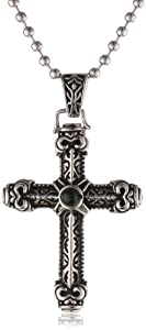 Men's Stainless Steel Black Agate Cross Pendant Necklace, 22