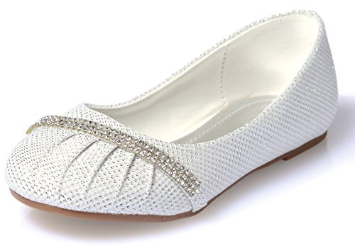 Link Little Girls Rhinestone Ballet Ballerina Glitter Flat Shoes, white (Flower Girl Shoes White compare prices)
