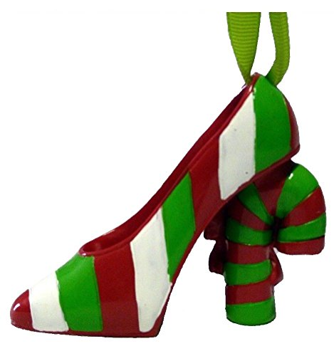 Red and Green Heel Is a Candy Cane Christmas Ornament