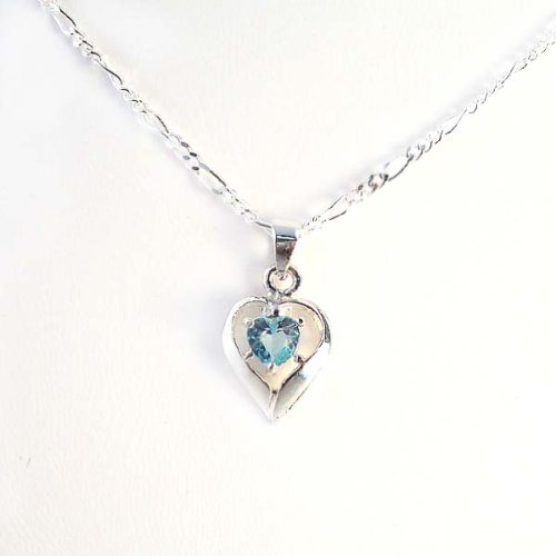 Birthstone March Aqua Heart Crystal Sterling Silver Necklace, 20