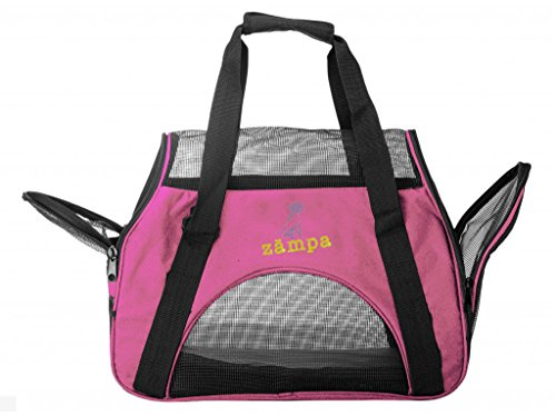 ZAMPA Soft-Sided Kennel, For Small Size Puppies & Cat's Carrier. With 2 Openings + Shoulder Strap Great For Travel. Foldable & Space-Free – Pink