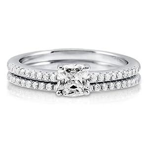 Cushion Cut Cubic Zirconia Sterling Silver 2Pc Bridal Ring Set 0.46 ct - Nickel Free Engagement Wedding Ring Set Size 7