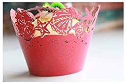 Kuke 24 pcs Hawaii Beach Seashell Laser Cut Cupcake Wrappers Cupcake Liners Muffin Container for Baby Shower Baby Birthday Christening or Wedding Party Cupcake Decoartion (Red)