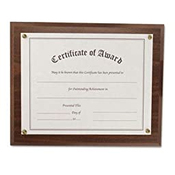 Nudell - 2 Pack - Award-A-Plaque Document Holder Acrylic/Plastic 10-1/2 X 13 Walnut \