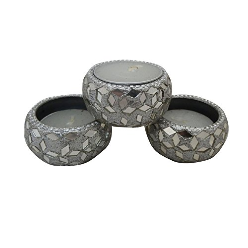 Indian Home Decor Diwali Gifts Set Of 3 Pcs Tea Light Decorative Silver Designer Aluminium Material Candle Lights...