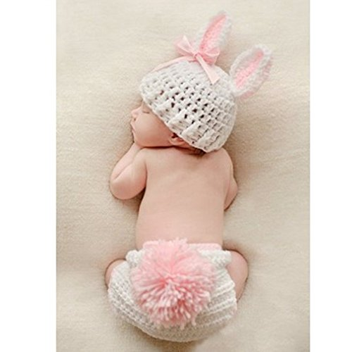 Newborn Baby Crochet Outfits Costume Pink Rabbit 0-6 Months