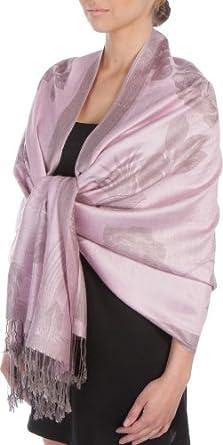 FUPashRose06AG Lightweight Two Tone Rose Floral Design Pashmina Fringe Scarf / Stole / Wrap - Baby Pink / Gray