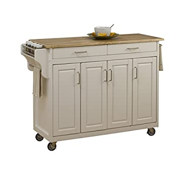 Home Styles 9200-1021 Create-a-Cart 9200 Series Cabinet Kitchen Cart with Wood Top, White Finish
