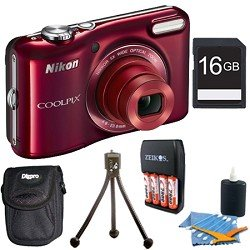 COOLPIX L28 20.1 MP 5x Zoom Digital Camera - Red with 16GB Memory Bundle. Bundle Includes 16GB Memory Card, Charger with 4AA 2900mAh Batteries, Mini Table-top Tripod, Deluxe Carrying Case , and 3pc. Lens Cleaning Kit.