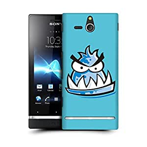 MobileGlaze Designs Angry Sketch Monster BluMon Fish Hard Back Case Cover for SONY XPERIA U ST25