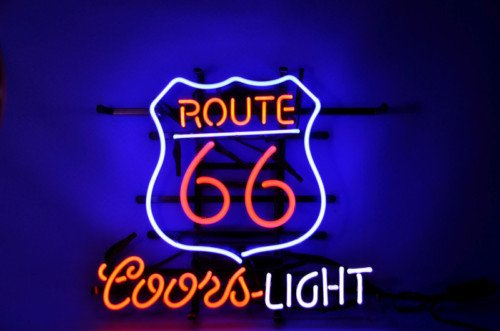 Historic Route 66 Mother Coors Light Pub Store Beer Bar Neon Light Sign Real Glass Tube 19'x15'' Handcrafted