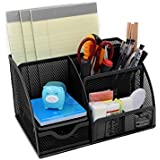 EasyPAG Mesh Desk Organizer 6 Compartment Office Supply Caddy with Drawer Pencil Holder ,Black