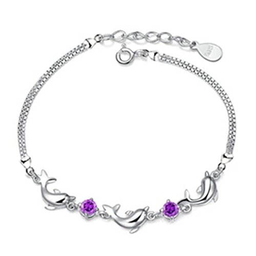 Time Pawnshop Noble Sterling Silver Dolphin Amethyst Charm Lady Wrap Bracelet (New England Patriots Party Ware compare prices)