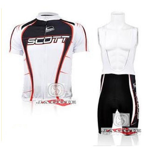SCOTT Short Sleeve Cycling Jerseys Wear Clothes Bicycle/ Bike/ Riding Jerseys + Bib Pants Shorts Size L