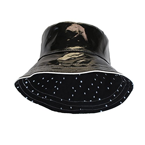 Black Patent Polka Dot Reversible Waterproof Bucket Rain Hat, Foldable, One Size (Bucket Hat Rain compare prices)