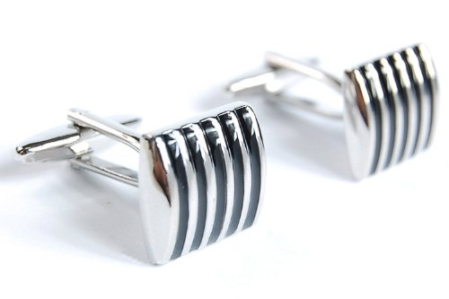 New Elegant Stripe Rectangle Cufflinks Men's Gift Party Wedding Cuff Links