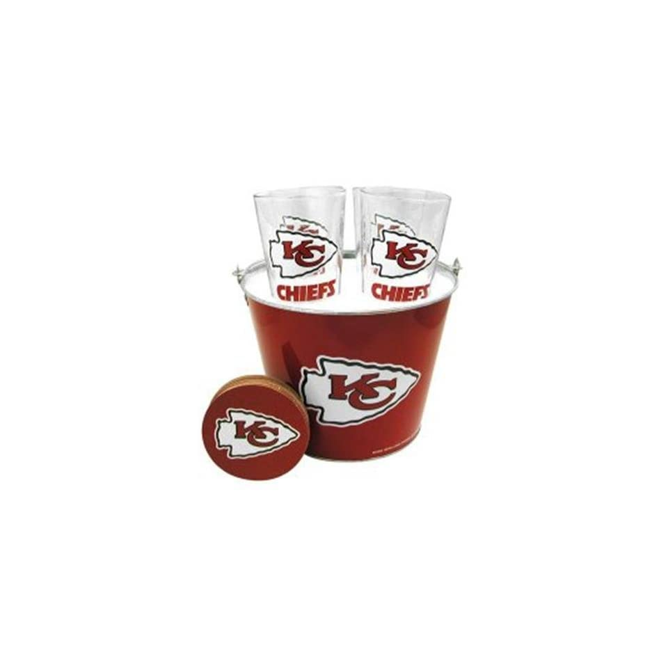 NIB Kansas City Chiefs NFL Beer Glass & Coaster Set