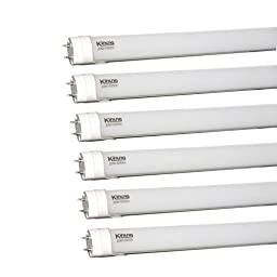 Kihung T8 LED Light Tube 4ft 22W (75W equivalent) 2300Lm Ultrahigh Brightness 6500K Cool White, Frosted PC+AL, 6-pack