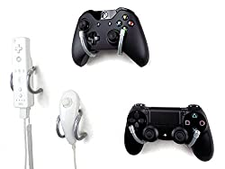 Wall Clip Xbox, Play Station, Wii, And Retro Game Controller Organizer 4 Pack, Gray