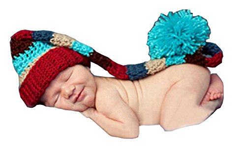 Photography Prop Baby Infant Lovely Crochet Knitted Long Tail Hat Cap front-929667