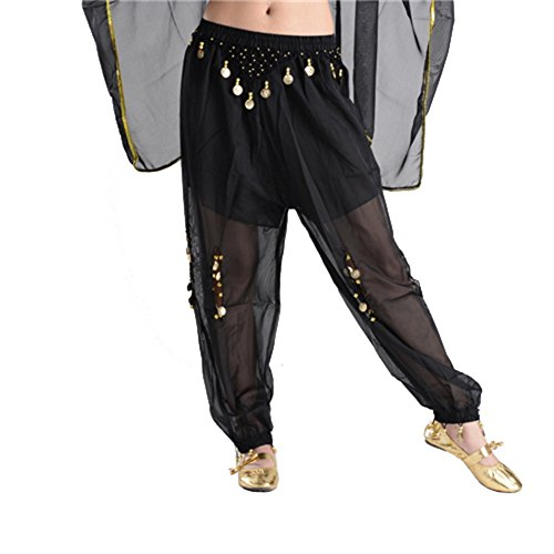 STIME TM Womens Free Size Belly Dance Costume Coin Elastic Lantern Pants