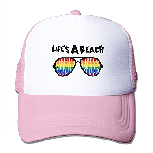 MULTY9 - Lifes A Beach Glasses - Adult Unisex Adjustable Mesh Back Cap Outdoor Sports Hat Pink (Outdoor Man Cricut Cartridge compare prices)