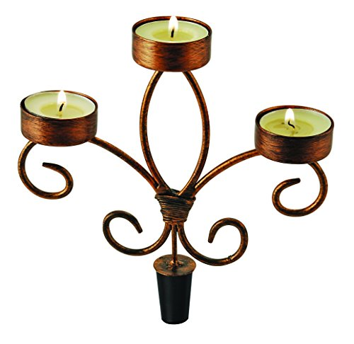 Copper Three-Tealight Wine Bottle Candelabra