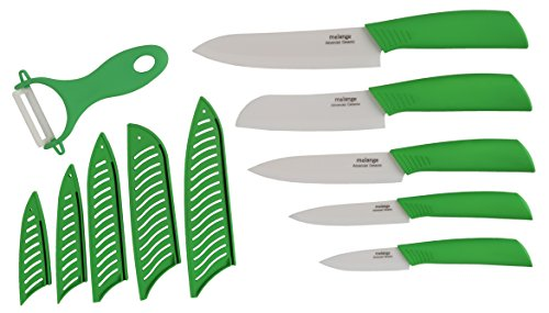 Melange 11-Piece Ceramic Knife Set with Lime Handle and White Blade