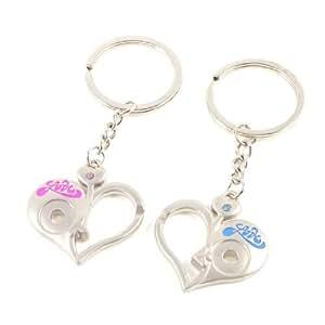 2 Pcs Half Hollowed Out Heart Shape Pink Blue Rhinstone Decor Key Ring