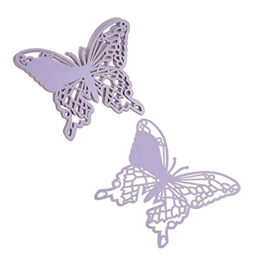 H&D Elegant Pearlescent Paper Butterfly Laser Cut Place Cards Wine Glass Cards Wedding Christmas Baby Shower Party Decorations (Lilac, 12Pcs/ 1Bag) front-418796