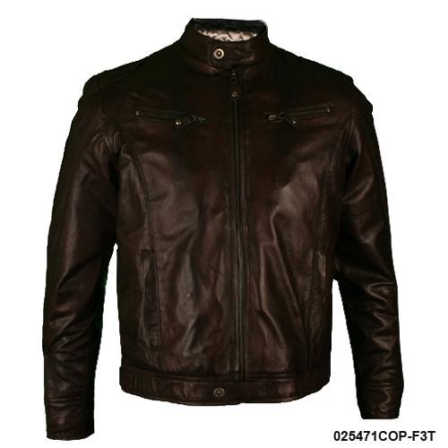 Mens Copper Waxed Real Leather Biker Jacket F3T Size XL - Extra Large