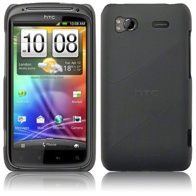 HTC SENSATION RUBBERISED HYBRID HARD BACK COVER CASE / SHELL / SHIELD BLACK PART OF THE QUBITS ACCESSORIES RANGE