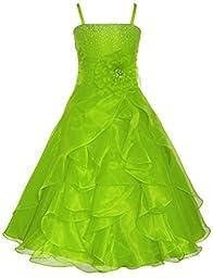 Wonder Girl Lily Big Girls\' Organza Tea Length Long Rhinestone Dress 16 Lime