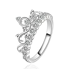 buy Fendina Womens Silver Plated Vintage Flower Crown Cz Crystal Promise Engagement Wedding Ring For Bridal Eternity Anniversary Band Her Valentin'S Day Gift