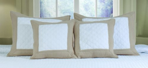 Greenland Home Brentwood Decorative Pillow Pair, Ivory/Taupe front-432499