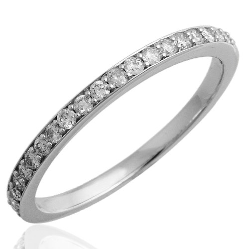 14k White Gold Wedding Diamond Band Ring (GH, I1, 0.25 carat)
